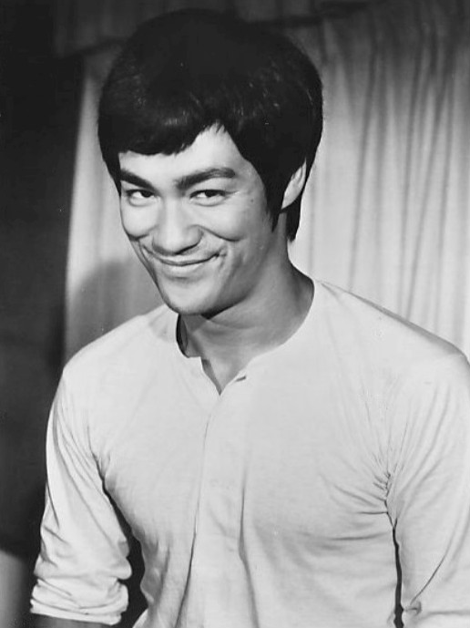 "Photo of martial artist and actor Bruce Lee from the film ""Fists of Fury,"" 1973"