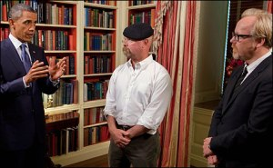 "President Barack Obama records an episode of the Discovery Channel's television show ""MythBusters"" with co-hosts Jamie Hyneman and Adam Savage in the Library of the White House, 2010"