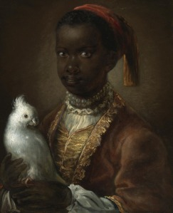 Attributed to Antoine Pesne (1683 - 1757): Portrait of a black page with a white parrot (via the People of Color in European Art History Tumblr page)