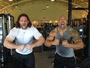 "Philadelphia Eagle's Offensive Guard Evan Mathis (left) and Dwayne ""The Rock"" Johnson (right), 2012"
