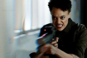 Actress Britne Oldford as Allison Regan in Australian sci fi drama Hunters