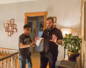 Director James Wan (left) on set of Lights Out