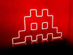 Space Invaders Neon Installation - Image Credit Simon Quasar